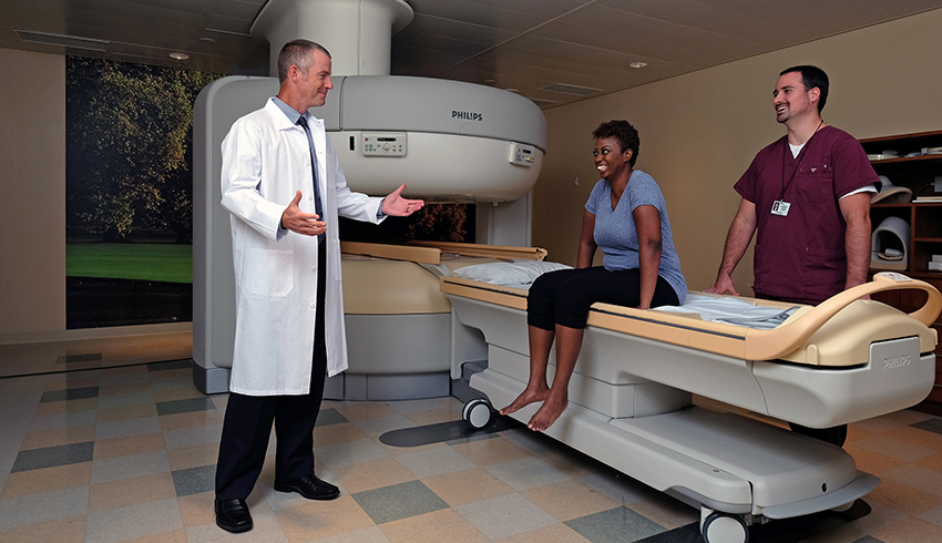 radiologist explaining an open mri