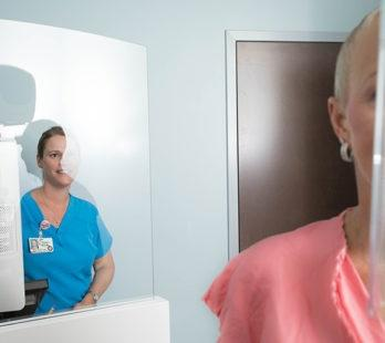 woman receiving a 3D mammogram in North Stafford
