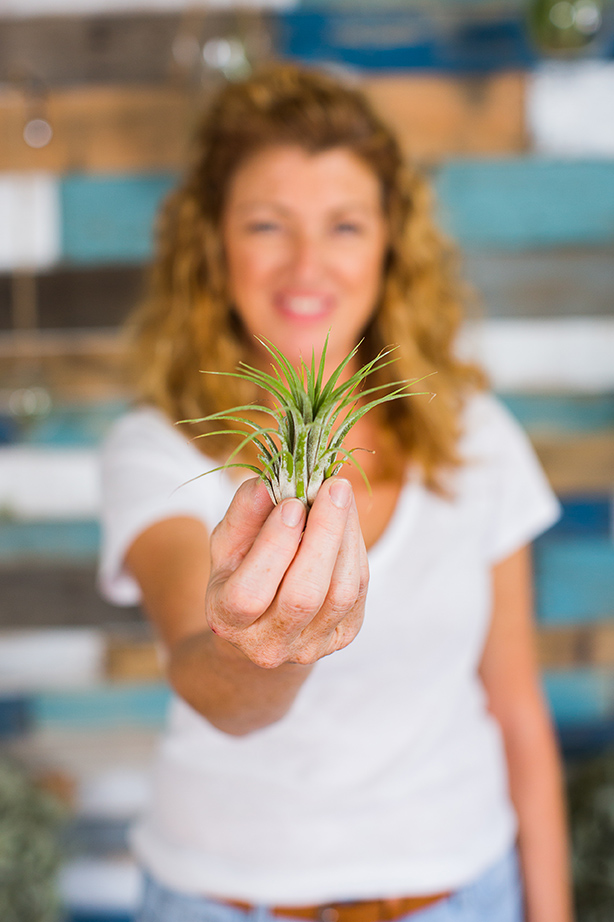 Elizabeth holding an air plant in her Virginia Beach studio.