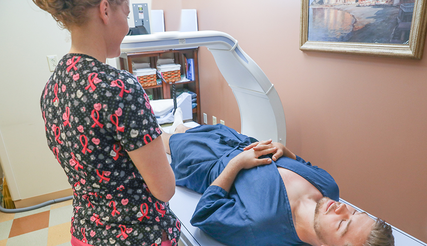 man getting an advanced body composition scan
